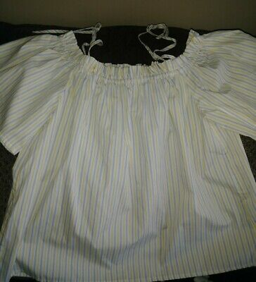 *NWOT* H&M White, Yellow & Navy Striped OFF SHOULDER CROP TOP Blouse ~Size 0