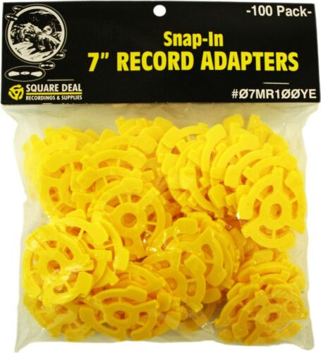 """(100) Flat Yellow Adapters / Inserts for 7"""" 45rpm Vinyl Records 45s EP Single"""