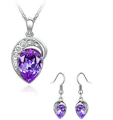 Silver Plated Water Tear Drop Crystal pendant necklace earrings set Bridesmaids