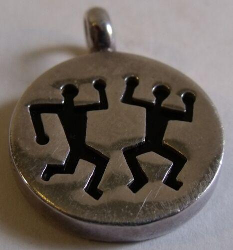 Southwestern sterling silver & red stone pendant dancing men petroglyph design