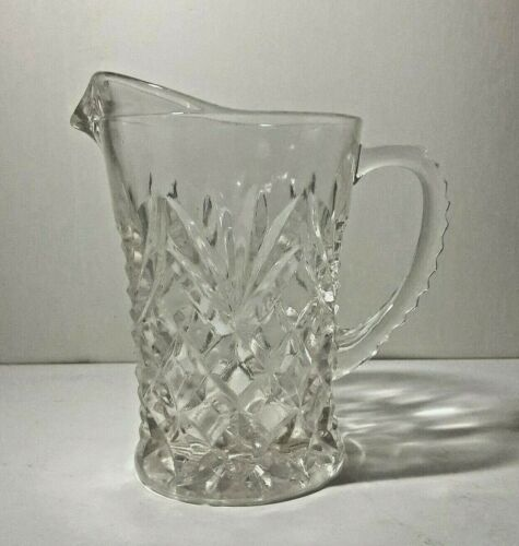 EAPC Anchor Hocking Pineapple Pattern Clear Glass Pitcher