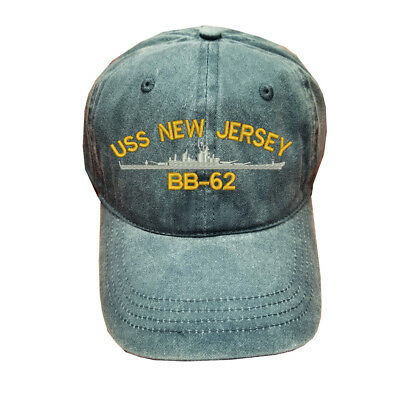 Blue Gray Washed cotton cap dad hat USS NEW JERSEY BB-62