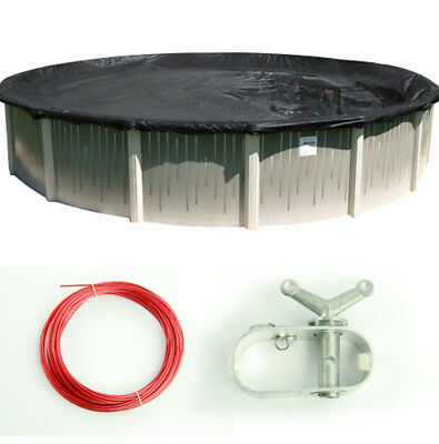 Round Deluxe Reversible Above-Ground Swimming Pool Winter Cover (Various Sizes)  - Ground Winter Cover