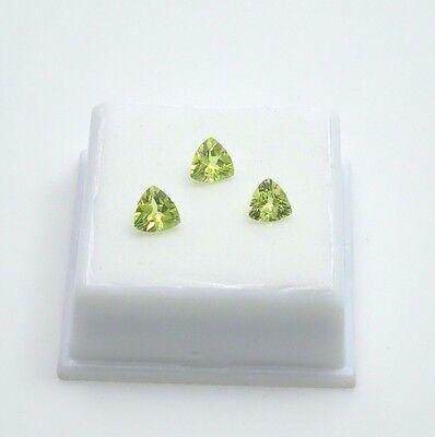 Set of 3 Green Chrysoberyl 2.0TCW - Trillion  - 6x6mm - Loose Gemstones