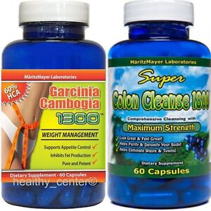 GARCINIA CAMBOGIA EXTRACT1000mg & COLON CLEANSE 1800 DIET PILLS WEIGHT LOSS