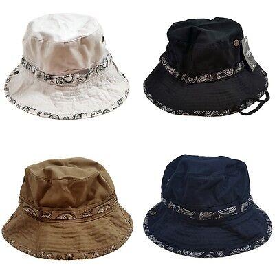 WIDE BRIM FISHING BUCKET BOONIE SAFARI  BANDANA DESIGN HAT CAP - Bandana Bucket Hat