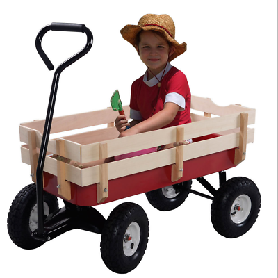Red Steel Metal All Terrain Wood Side Panels Wagon Child Kid
