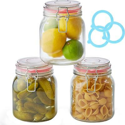 Andrew James Set of 3 Glass Preserve Food Storage Jars Airtight Clip Top 1000ml