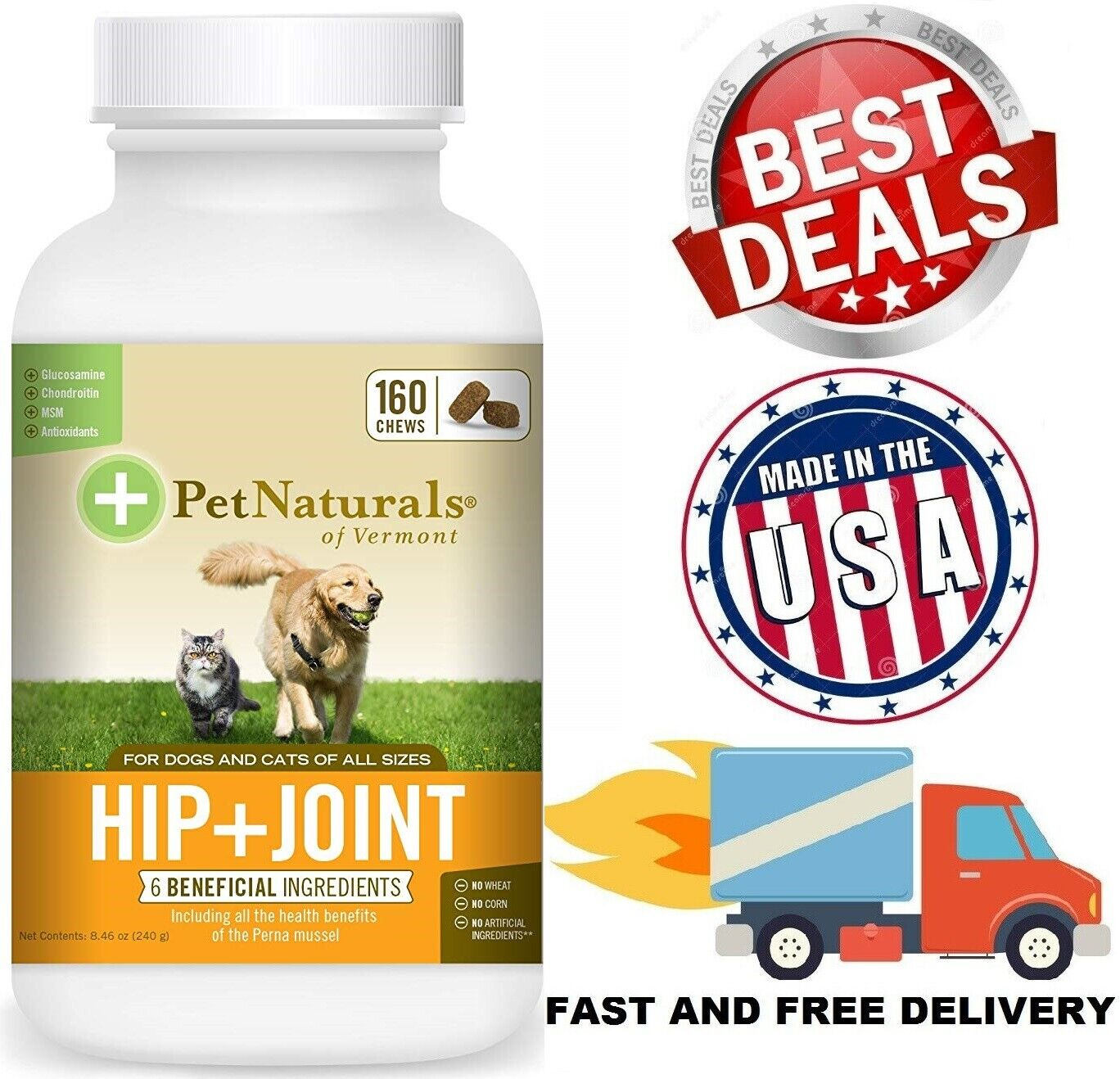 SUPPORT HIP JOINT FOR DOGS CATS Glucosamine Chondroitin MSM