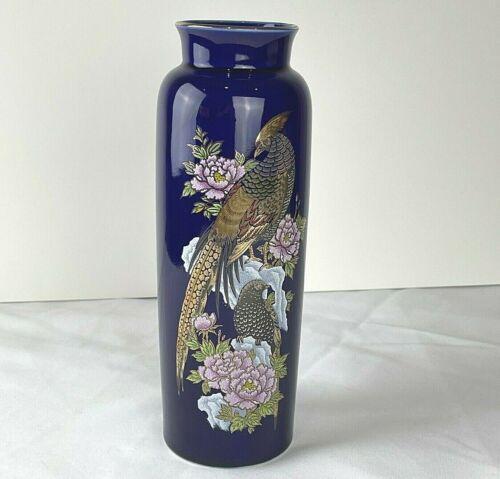 "Kutani Cobalt Blue Vase Pheasants and Peonies Gold Detail Signed 10.75"" tall"