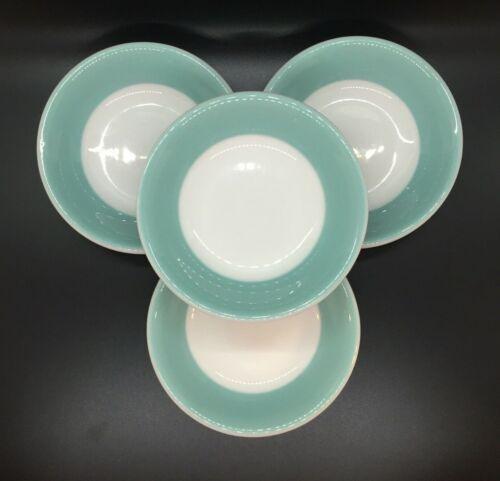 """4 Vtg Shenango Dessert Fruit Bowl 4.5"""" Blue Green Border 1960s Restaurant Ware"""