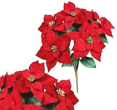 "5 Red Microfiber Poinsettias 20"" Bush Christmas Holiday Silk Flower Home Office"