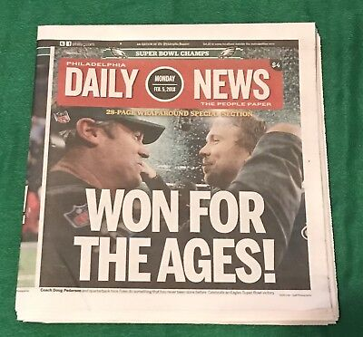 EAGLES WIN Superbowl 52 - Philadelphia Daily News - Won For The Ages- 2/5/18