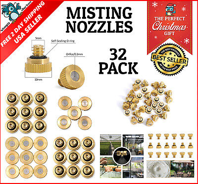 32 Misting Nozzles Mist Cooling System Brass for Garden Patio Outdoor Greenhouse