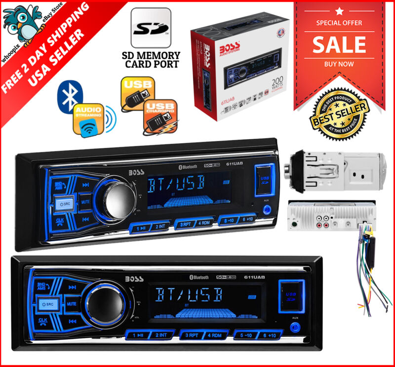 $35.21 - Boss Single Din Usb Sd Aux Radio Car Stereo Receiver Audio Bluetooth Enabled