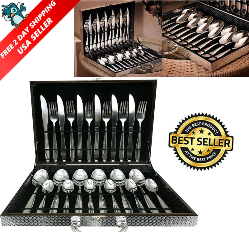 Silverware Box Set 24pcs High Quality Stainless Steel Flatware Tableware Cutlery