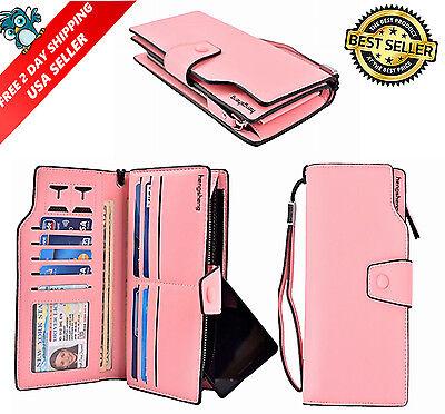 Women Leather Wallet Lady Zipper Purse RFID Credit Card Clutch Holder Case Pink
