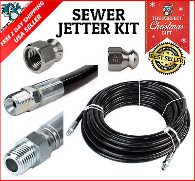 Sewer Jetter Kit Pressure Washer Hose Jetting Set Nozzle 4000 Psi Clogged Flush