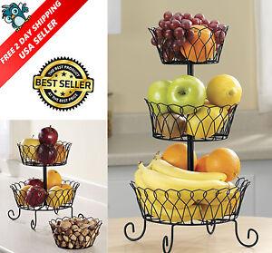 3 Tier Fruit Basket Bowl Holder Stand Kitchen Vegetables Storage Organizer Decor