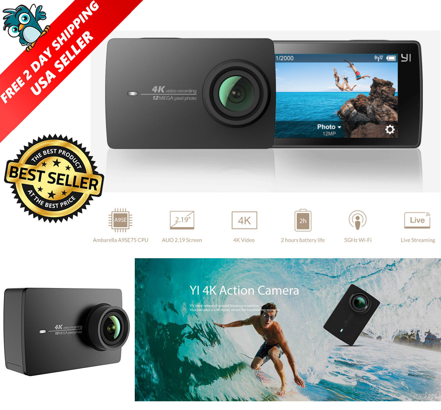 New Xiaomi Yi 4k Action Camera Black Wifi Sports Pocket Action Camera Us Version