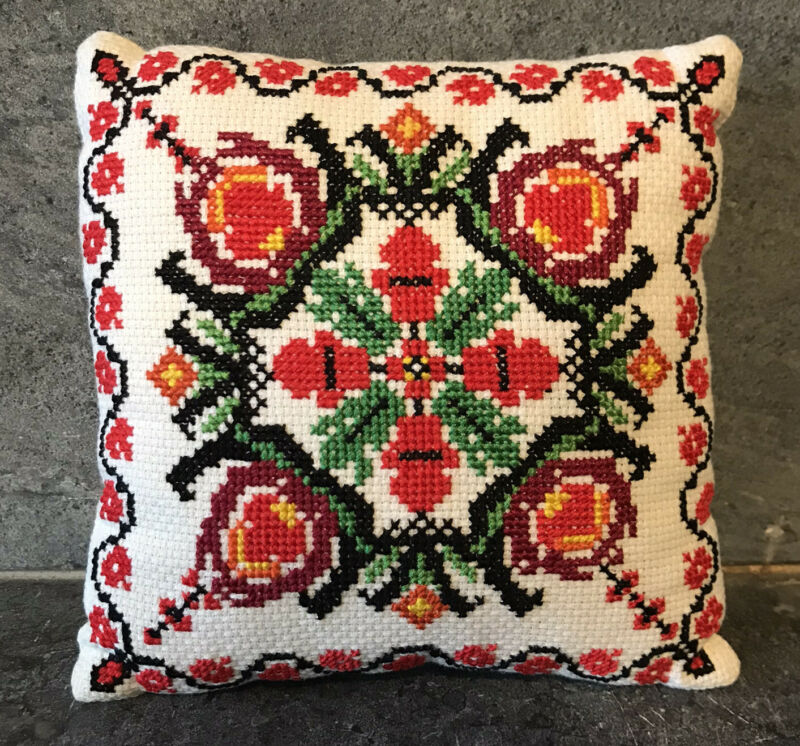 Vtg Slavic Embroidered Small Accent Pillow Needlepoint Floral Eastern Europe 7""