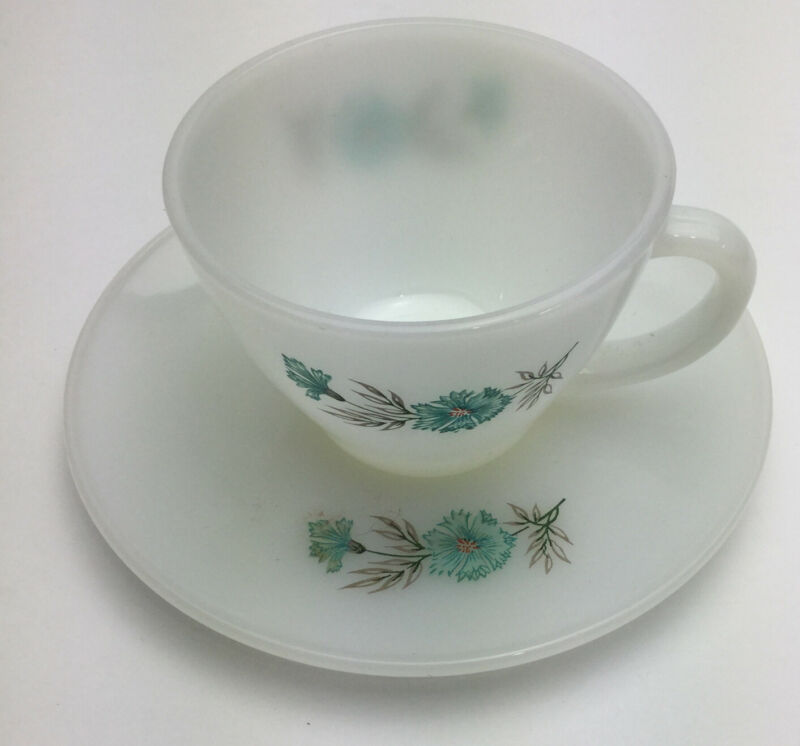 VTG  Fire King Cup and Saucer   Bonnie Blue Flower   Oven Ware  Milk Glass