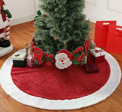 """Holiday Time Classic Bright Red & White Plush Tree Skirt, 48"""""""