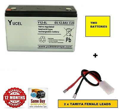 2 X 6V 12AMP BATTERIES AND LEADS for Angling Technics MICROCAT HD Bait Boat