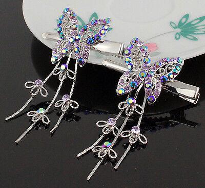 2pcs Dangle Butterfly Lilac Austrian Crystal Rhinestone Hair Barrette Clips B171