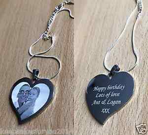 Personalised Photo/Text Engraved Heart Necklace & Pendant Wedding Birthday Gift.