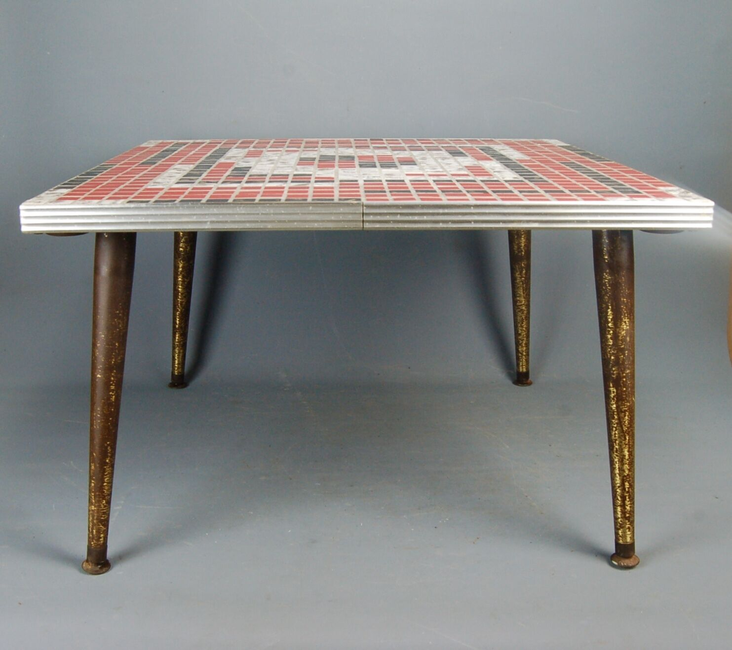 vintage Mid Century Modern Red Black White Tile Mosaic Square Coffee Table 1950s