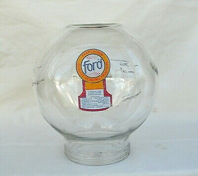 Original Ford Gumball  Vending Machine glass globe Fired on decal with scuff