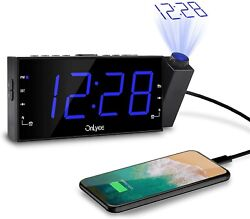 OnLyee Projection Clock, 7LED Digital Desk/Shelf Clock with USB CR1001i