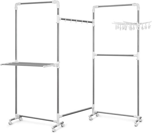 Tomons Clothes Drying Rack Garment Rack 30KG Capacity Foldable w Rolling Casters