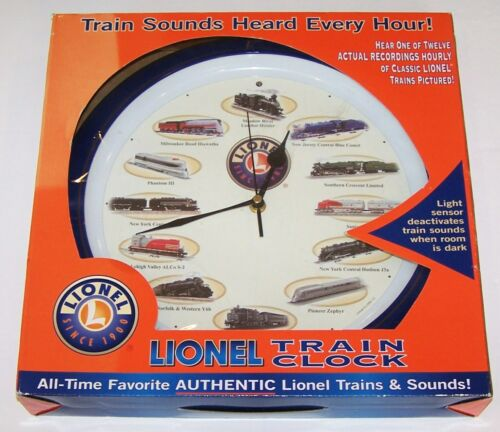 WONDERFUL NEW IN BOX 2004 LIONEL TRAIN CLOCK WITH AUTHENTIC TRAIN SOUNDS