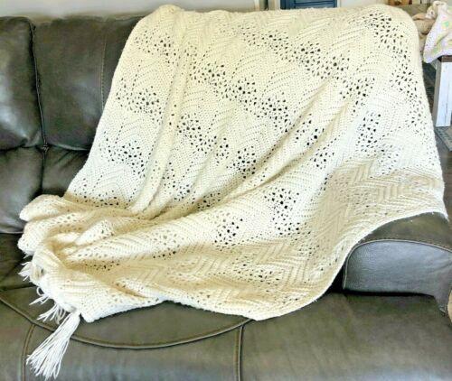 White/Ivory Fringe Ends Crochet Afghan Throw Blanket