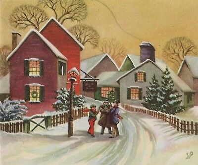 "VINTAGE ""CHRISTMAS CAROLERS"" STANTON PITMAN VICTORIAN SNOWY VILLAGE SCENE CARD"