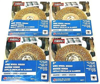 Mibro 5 Brass Wire Wheel Brush Coarse Crimped 58 Bore 12 Bushing 4 Pack