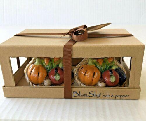 Blue Sky Ceramic Salt & Pepper Shakers Cornucopia Fall Harvest Thanksgiving Gift