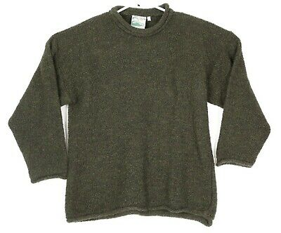 Gaeltarra Mens Small Green Long Sleeve Pullover Wool Blend Sweater Ireland Made