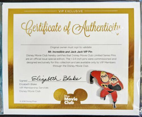 Incredibles 2 VIP Pin, Jack Jack, Mr Incredible, Disney Movie Club Exclusive NEW