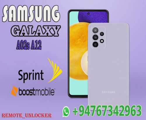 Samsung Galaxy A02s A025U A12 A125U Sprint Boost Mobile Remote Unlock Service