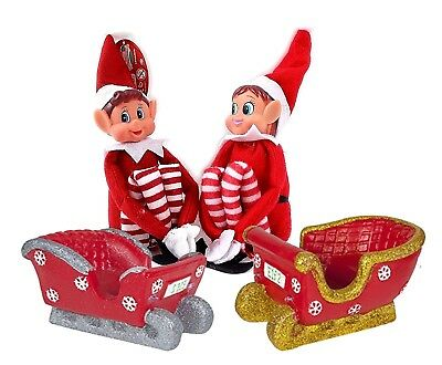 NAUGHTY LITTLE XMAS ELF LED SLEIGH WITH BEHAVING BADLY BOY GIRL SHELF ELF FIGURE