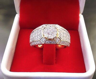 Gorgeous 14K Yellow Gold Filled White Sapphire Ring Men Women