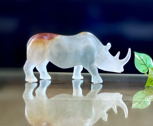 Daum Rhinoceros Pate de Verre France Rhino Mint Signed With Box