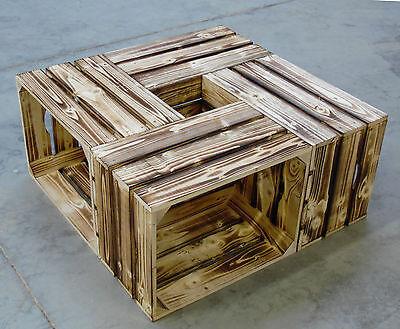 4er-Set neue geflammte Weinkisten  Holzkisten Obstkisten Apfelkisten Weinkiste
