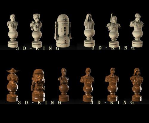 12 Pcs 3D STL Model # CHESS STAR WARS SET #  for CNC Aspire ROUTER 3D Printer