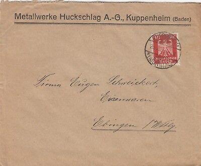 KUPPENHEIM, Briefumschlag 1924, Metallwerke Huckschlag AG