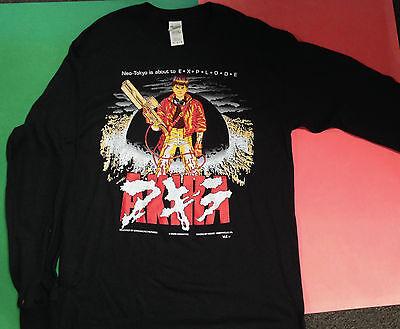 LONG SLEEVE AKIRA KANEDA BLACK T-SHIRT  LARGE ANIME JAPAN NEO TOKYO VINTAGE 1992