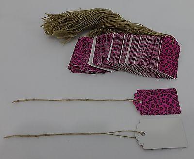 500 Leopard Pink Designer Print Scalloped Merchandise Strung Price Tags